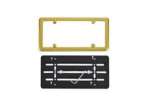 License Plate Bumper Mounting Holder Adapter Tag Bracket + GOLD Frame for JAGUAR