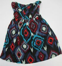 ROXY #DR1217 Womens Size S Strapless Sweetheart Top A-line Cotton Black Sundress