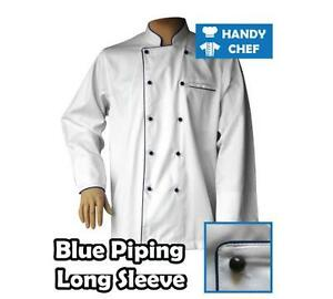 White Chef Jackets with Blue Piping L/S - Premium Quality Chef Jackets