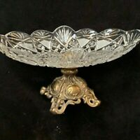 Vintage Lead Crystal Glass Oval Bowl  with Brass Base
