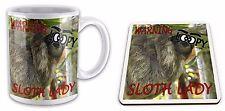 Warning Loopy SLOTH Lady Funny  Gift Mug & Glossy Coaster Set