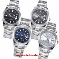 39.5mm PARNIS white black blue dial miyota luminous Date automatic mens watch