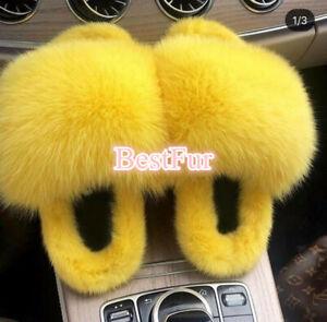2021 Women's Slippers Real Mink Fur Fox Fur Slides Sandals Indoor Ourdoor Shoes