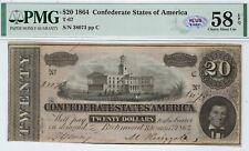 T-67 Pf-12 1864 $20 Confederate Paper Money - Pmg Choice About Unc 58 Epq Plus!