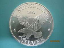 sunshine silver 1982 one troy ounce .999 fine silver round