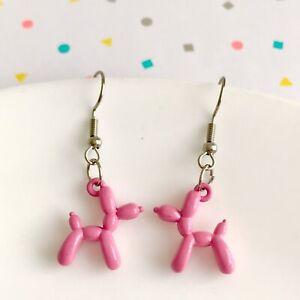 Cute Miniature Pink Poodle Fun Dangle Earrings/Quirky