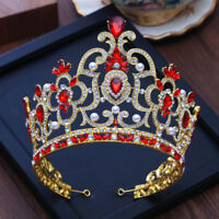 Baroque Golden Vintage Red Crystal Bridal Tiaras Wedding Hair Accessories Crown