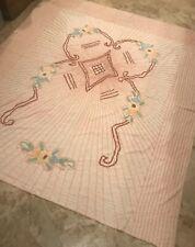 Vintage Chenille Bedspread Handmade Peach Queen Size
