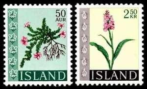 Iceland 1968 Flowers, Set of 2, MNH / UNM