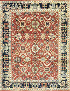 Mahal Oriental Rug, 8'x10', Red/Blue, Hand-Knotted Wool Pile
