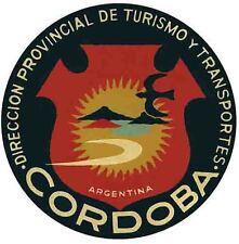Cordoba  Argentina   Vintage 1950's  Style  Travel Sticker Decal Label