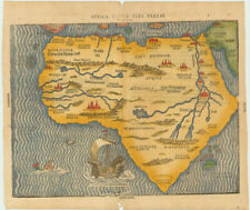 Excellent woodcut map of Africa with Mountains of the Moon and mythical cities.