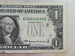 1999 $1 FRN Missing Green Seal Error