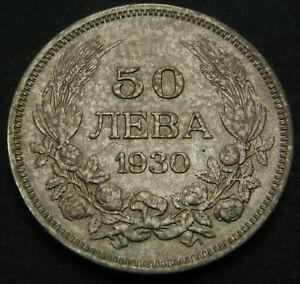 BULGARIA 50 Leva 1930 BP - Silver - Boris III. - VF - 1496