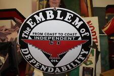 """Large Independent Oil Co. Gasoline Gas Station 30"""" Porcelain Metal Sign"""