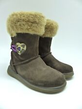 Girls brown fur lined warm Suede Boots by Clarks size Infant 5F