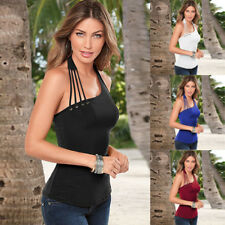 Womens Halter Neck Tank Tops Ladies Backless Vest Slim Strappy Cami T Shirt 6-18