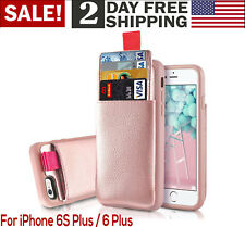 Apple iPhone 6 Plus / 6s Plus Wallet Case Leather Phone Cover Card Holder Rose