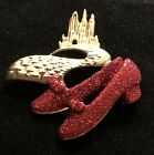 Vintage AJC Emerald City Ruby Red Shoes Gold Tone Wizard of Oz Pin Brooch Broach