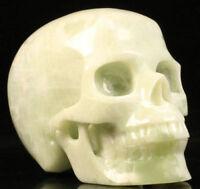 HUGE 5.1 IN Genuine Jade Carved Crystal Skull, Realistic, Crystal Healing #788