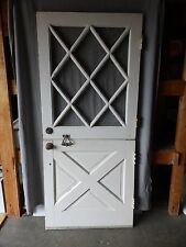 Vtg Solid Wood Dutch Door 12 Lite Diamond Top Old Shabby Cottage Chic 1922-16