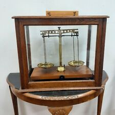More details for antique mahogany & glass cased scientific apothecary weighing scales + weights