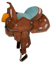 """13"""" Youth Kids Turquoise Seat Beaded Western Roughout Barrel Racing Saddle FQHB"""