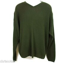 PENDLETON Green 100% Cotton Cable Knit V Neck Pullover SWEATER Men's LARGE