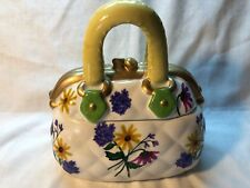 David's Cookies White Ceramic Quilted Purse Cookie Jar With Floral Design EUC