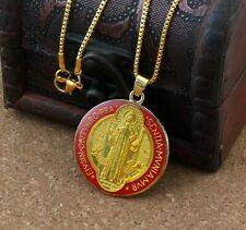Saint Benedict Red Enamel Gold Plated Cross Pendant Medal 24 Inch Chain Necklace