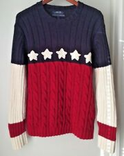 Vintage Tommy Hilfiger Stars and Stripes Cable Knit Sweater Men's Large