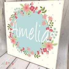 KIDS DOOR SIGN NURSEY Wooden Name Plaque Personalised Baby Girl Floral Wreath