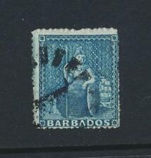 BARBADOS 1860, 1d PALE BLUE, VF USED SG#14 CAT£150 $195 (SEE BELOW)