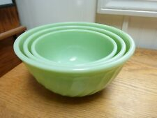 "Vintage Fire King green jadeite 3 nesting mixing bowls 6"" 7"" 8"" swirl pattern"