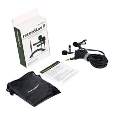 Dual Head Microphone Clip-on Lapel Mic with Omnidirectional Condenser Mic