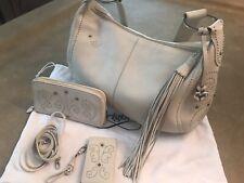 Brighton Cream Pebble Leather Studded Tassel Handbag With Matching Wallet