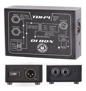 New TDI-P1 Passive XLR to 1/4 Direct DI Box with Ground Lift for Guitar Keyboard