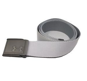 Under Armour Mens Webbing Belt White & Gray Golf Belt Reversible Adjustable