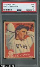 1934 Goudey #86 Lloyd Johnson Pittsburgh Pirates PSA 5 EX LOW POP