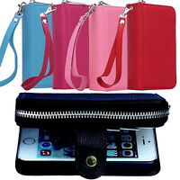 Faux Leather Zipper Card Wallet Purse Phone Case Cover Skins for iPhone Smart