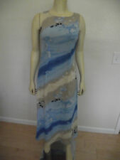 Sale Celly K water colors floral print Blue long Dress S