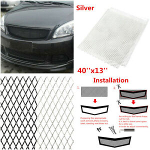 "Racing Car Front Bumper Rhombic Grille Mesh 40X13"" Aluminum Grill Mesh Silver"