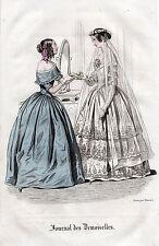 """2/ GRAVURE DE MODE """"  JOURNAL des DEMOISELLES """" 1858"""