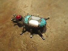 OLD Native STYLE  Sterling Silver Turquoise MOP Coral Spider Bug Pendant
