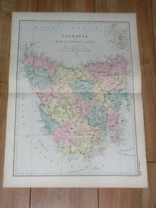 1891 ANTIQUE MAP OF VAN DIEMEN'S LAND / TASMANIA / HOBART / AUSTRALIA