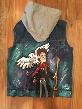 hand painted one of a kind harry potter inspired hooded denim vest. Child's 7/8