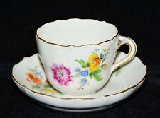 Mokkatasse Espressotasse Meissen, Blumen, handgemalt, Goldrand