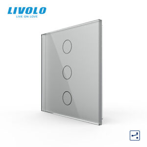 LIVOLO UK Grey 86mm 3 Gang 2 Way Touch Tempered Glass LED Light Switch