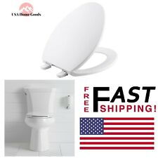 White Brevia Elongated Closed Front Toilet Seat W/ Quick-Release Hinges Durable