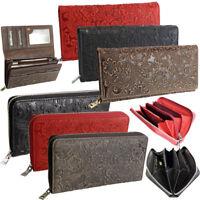 Große Damen Geldbörse Leder schwarz rot braun günstig viel Platz für Karten